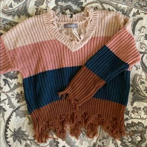 2Sable Frayed Sweater